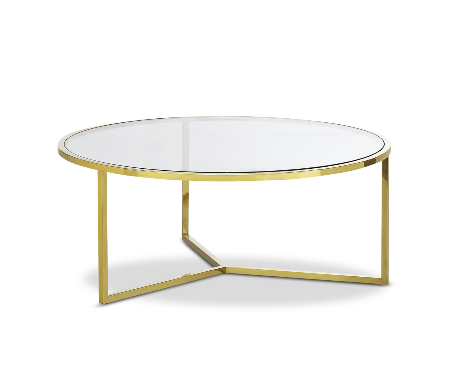 Picture of: Bianka Round Luxe Gold Polished 100cm Coffee Table