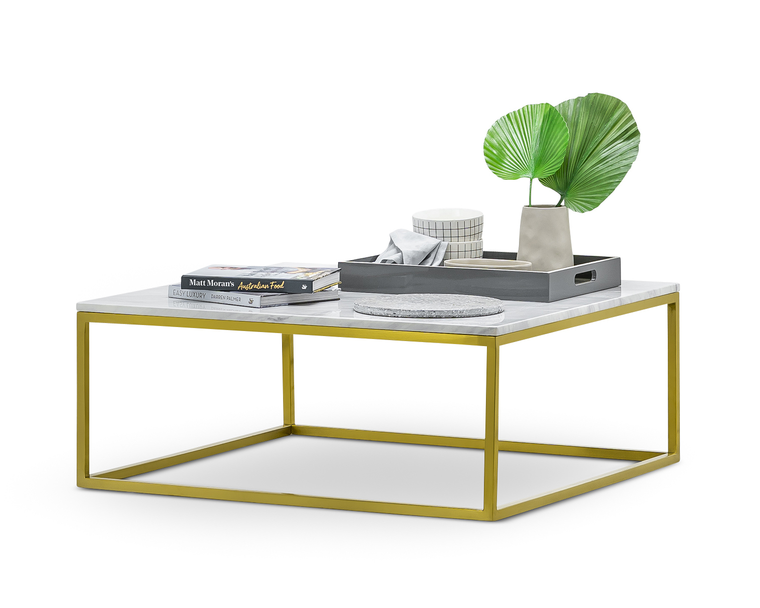 Elisa White Marble Square Coffee Table Golden Brushed Stainless Steel