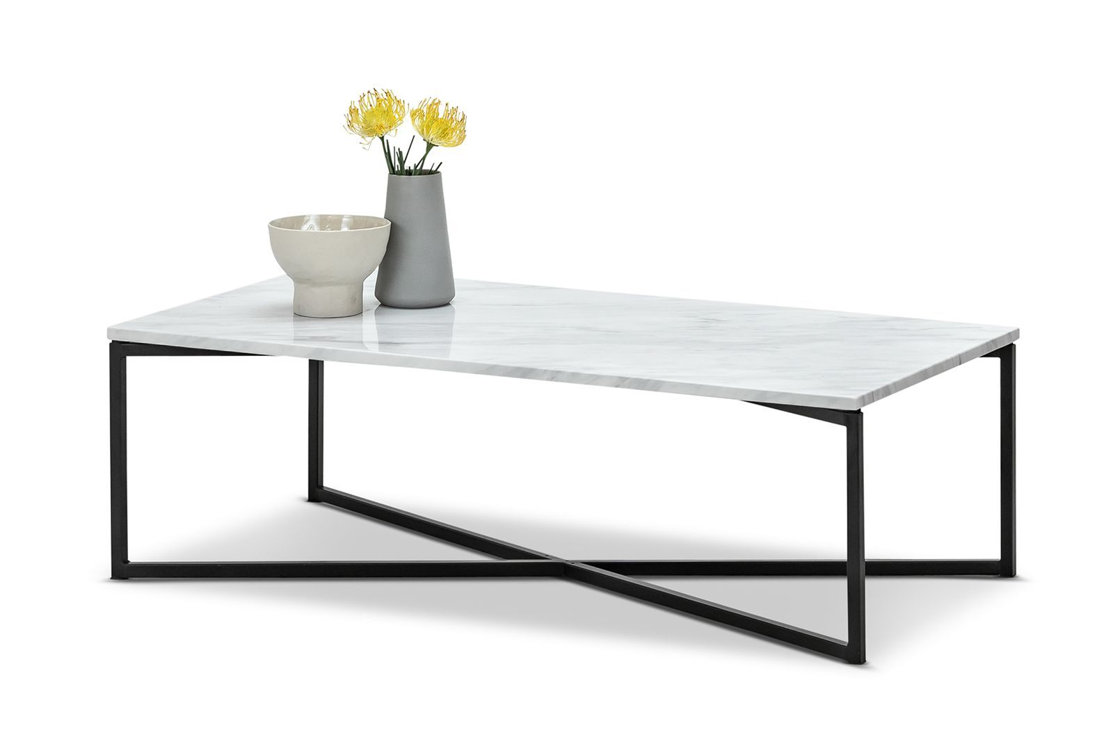 Ellie Marble Rectangular Coffee Table White Black L3 Home
