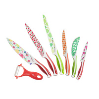 Swiss Line Octavo 7 Piece Coating Knife Set, Colourful Print