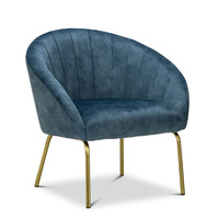 Emily Channel Tufted Velvet Armchair, Petrol Blue & Gold