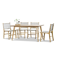 Bruno 7 Piece Dining Set with 6 Grey Lazie Leather Strapping Chairs