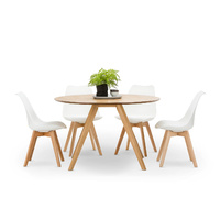 Milari 7 Piece Round Dining Set with 6 Replica White Padded Eames Chairs