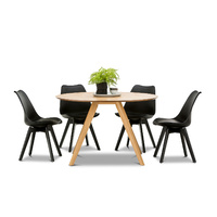 Milari 7 Piece Round Dining Set with 6 Replica All Black Padded Eames Chairs