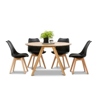 Milari 5 Piece Round Dining Set with 4 Replica Black Padded Eames Chairs