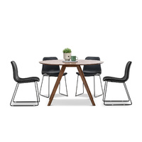 Milari 7 Piece Round Dining Set with 6 Black Sadel Chairs, Walnut