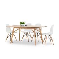 Alysa 5 Piece Dining Set with 4 Replica White Eames Chairs
