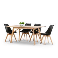 Alysa 7 Piece Dining Set with 6 Replica Black Padded Eames Chairs