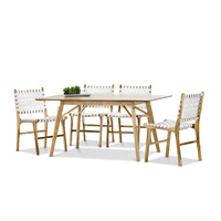 Alysa 7 Piece Dining Set with 6 White Lazie Leather Strapping Chairs