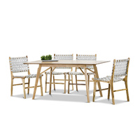 Alysa 7 Piece Dining Set with 6 Grey Lazie Leather Strapping Chairs