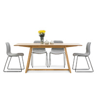 Manhattan 7 Piece Dining Set with 6 Grey Sadel Fabric Chairs