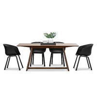 Manhattan 5 Piece Dining Set with 4 Replica Black Hay Scoop Chairs, Walnut