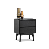 Maison 2 Drawer Bedside Table, Black Oak