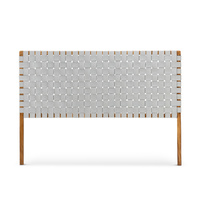 Lazie Leather Strapping Bedhead, Teak & Light Grey