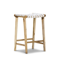 Lazie 66cm Leather Strapping Bar Stool, Teak & White