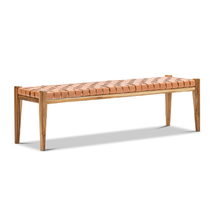 Lazie Leather Strapping Bench, Teak & Natural Tan