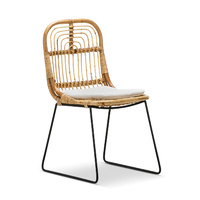 Astro Rattan Cane Dining Chairs, Natural & Black (Set of 2)
