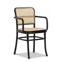 Prague Solid Teak Bentwood Cane Dining Arm Chair, Black & Natural