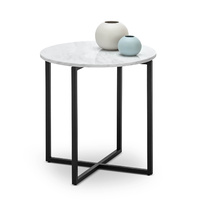 Ellie Marble Round Side Table, White & Black