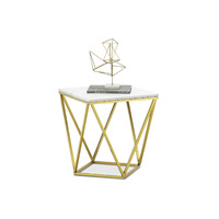 Vivianne Marble Geo Side Table, White & Brushed Gold