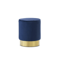 Mila Round Velvet Ottoman, Navy Blue & Gold Base