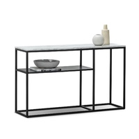 Ebonie White Marble 130cm Console Table, Black