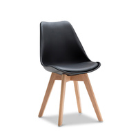 Replica Padded Eames DSW Chairs, Black Natural (Set of 2)