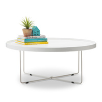 Hover Round Tray Coffee Table, White