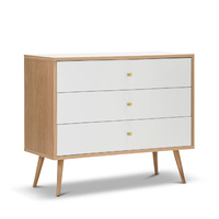 Liena 3 Drawer Oak Tallboy Chest, White