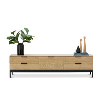 Macy Oak Entertainment Unit, Natural & Black