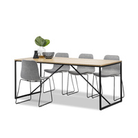 Macy 7 Piece Dining Set with 6 Grey Sadel Fabric Chairs