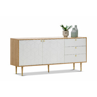 Hexii Oak Sideboard Buffet, Natural & White