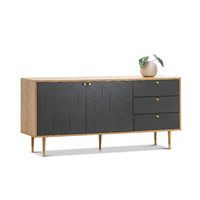 Hexii Oak Sideboard Buffet, Natural & Grey