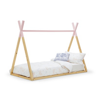 Teepee Kids Single Bed Frame, Pink & Natural Timber