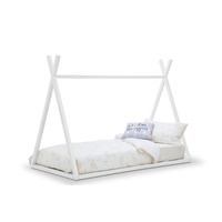 Teepee Kids Single Bed Frame, All White