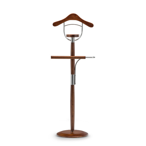 Vele 104 Polished Timber Men's Valet Stand, Natural Cherry