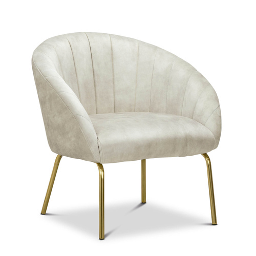 Emily Channel Tufted Velvet Armchair, Nude Beige & Gold
