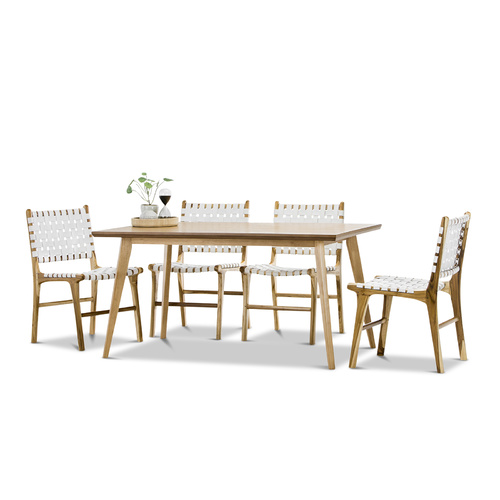 Bruno 5 Piece Dining Set with 4 White Lazie Leather Strapping Chairs