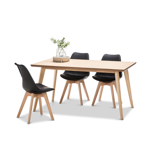 Bruno 5 Piece Dining Set with 4 Replica Black Padded Eames Chairs