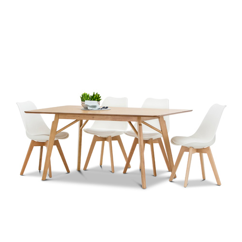 Alysa 5 Piece Dining Set with 4 Replica White Padded Eames Chairs