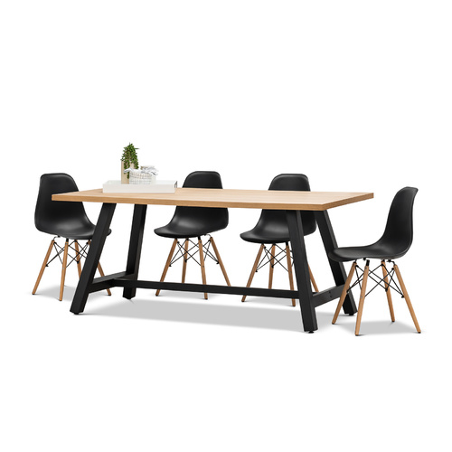 Brooklyn 7 Piece Dining Set with 6 Replica Black Eames Chairs