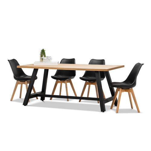 Brooklyn 7 Piece Dining Set with 6 Replica Black Padded Eames Chairs