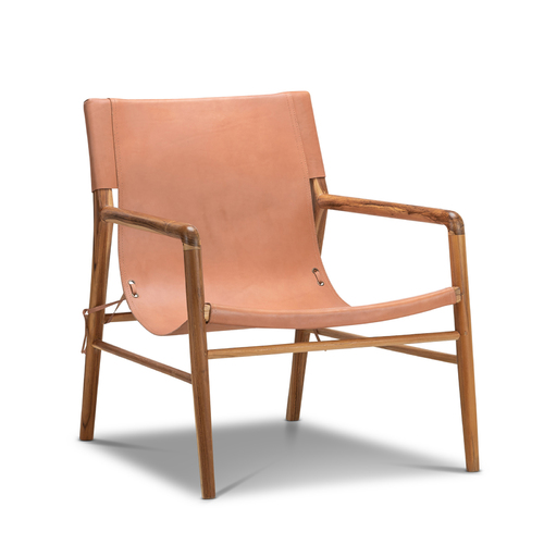 Norah Leather Sling Armchair, Teak & Natural Tan