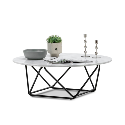 Aria Marble Round Coffee Table, White & Black