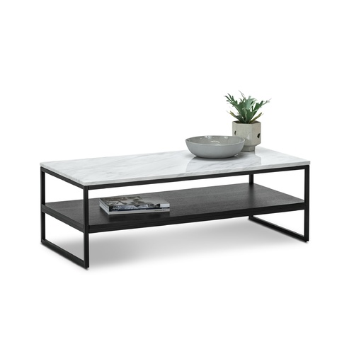 Ebonie White Marble Rectangular Coffee Table, Black