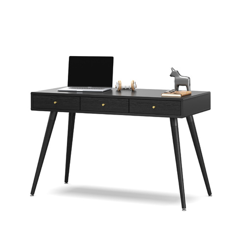 Einar 3 Drawer Office Writing Desk, Black
