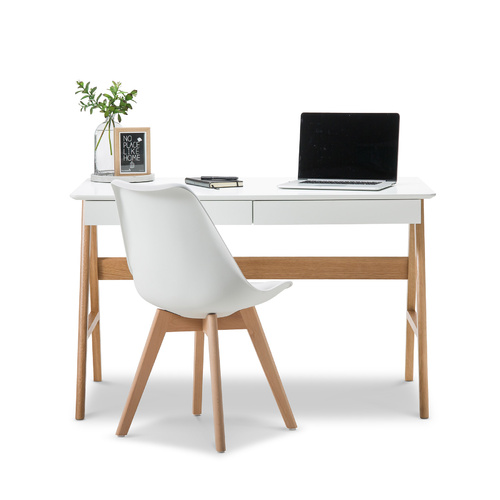 Aleksander 2 Drawer Desk, White & Oak