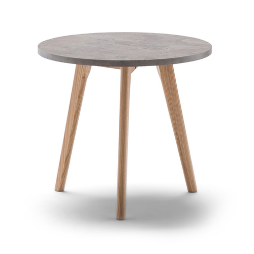 Raakel Side Table, Concrete Look & Oak