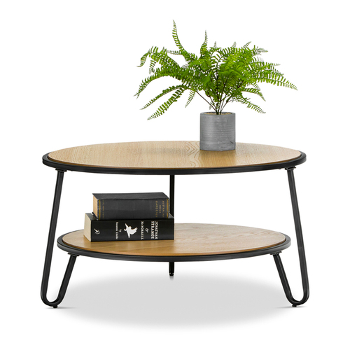 Macy Round 2 Tier Oak Coffee Table, Black