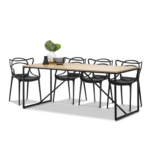 Macy 5 Piece Dining Set with 4 Replica Black Philippe Starck Masters Chairs